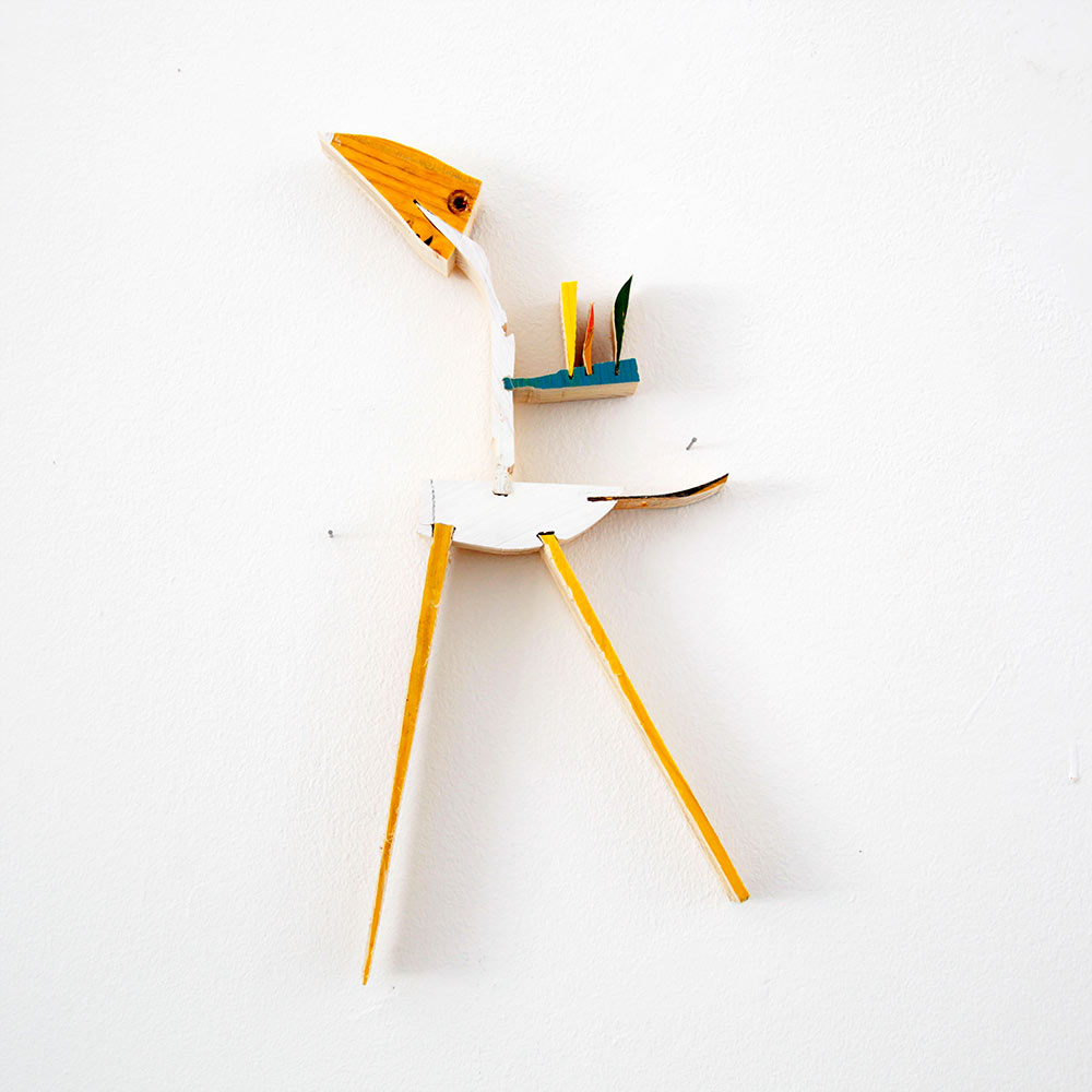 contemporary art, available, artwork for sale, wood sculpture, wall piece, yellow , bird,