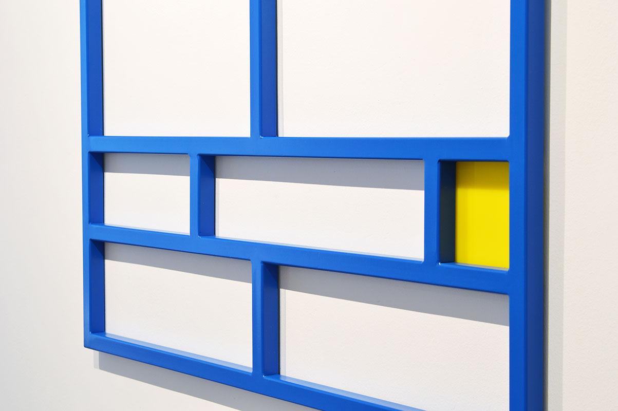Emanuel Ehgartner, wall, sculpture, blue, yellow, metal, minimal art, vienna, 2021