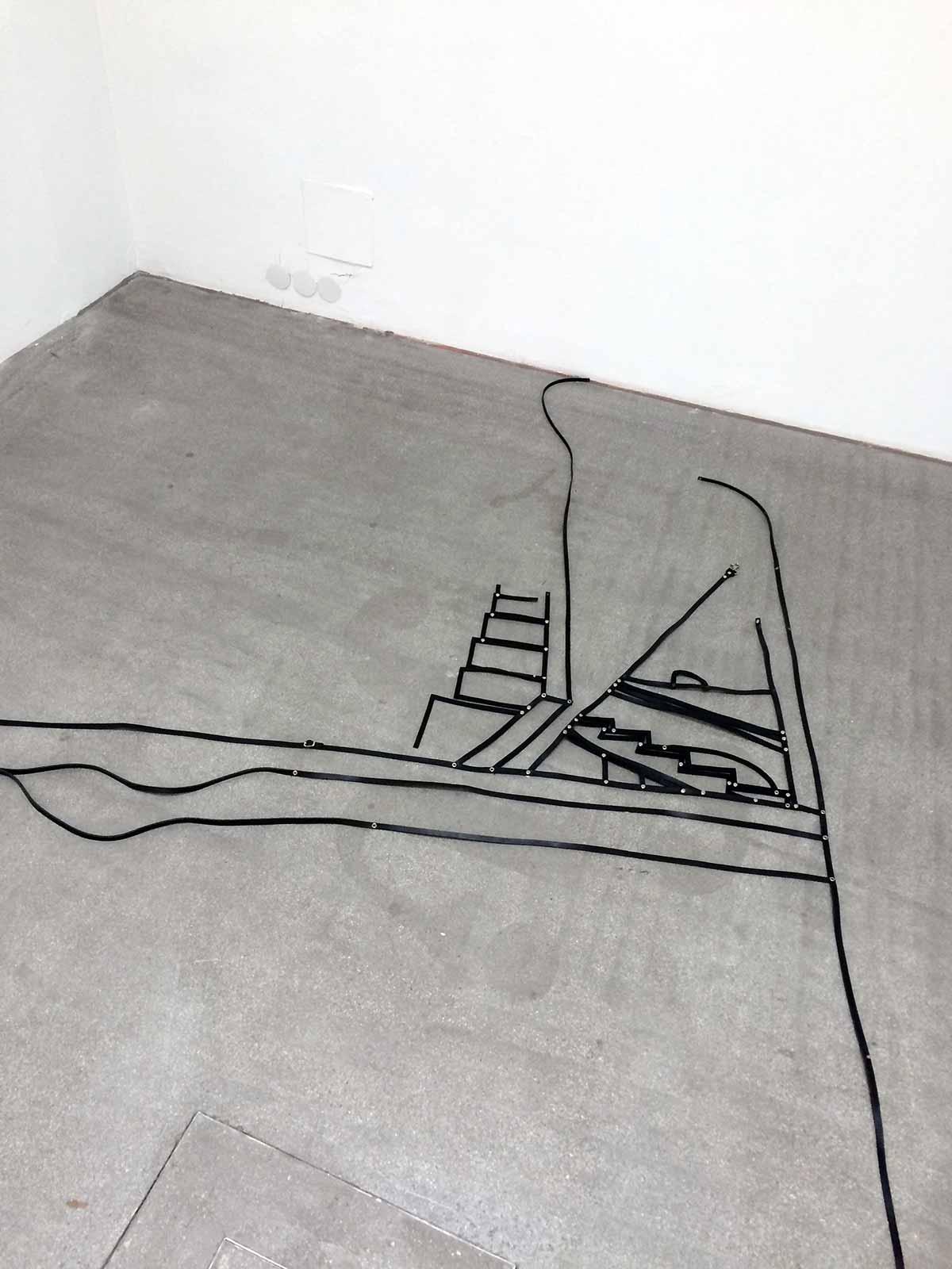 art installation, gallery, klaus pamminger, leather, floor, piece