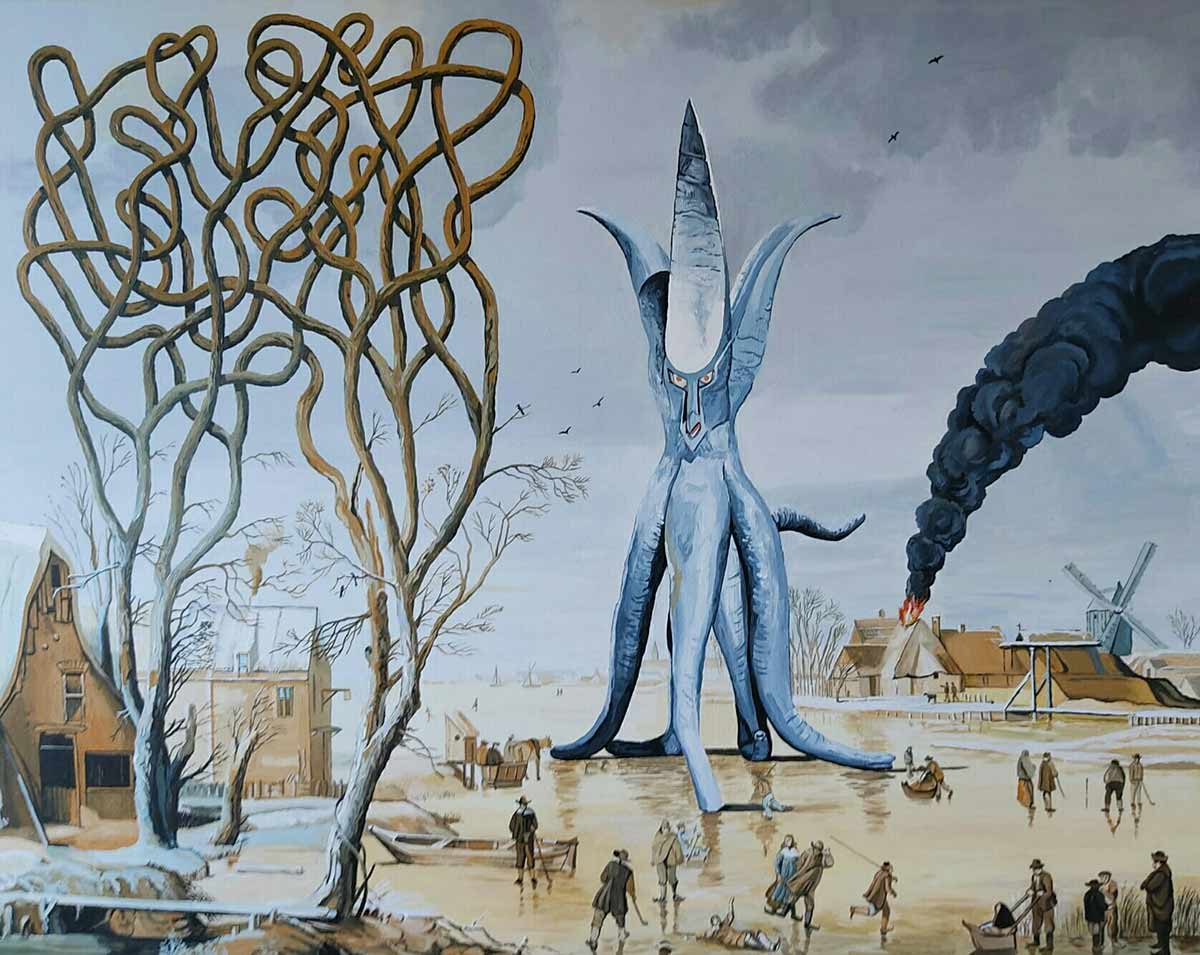 japanese monster, larger than life, another world, Spanish contemporary painter,