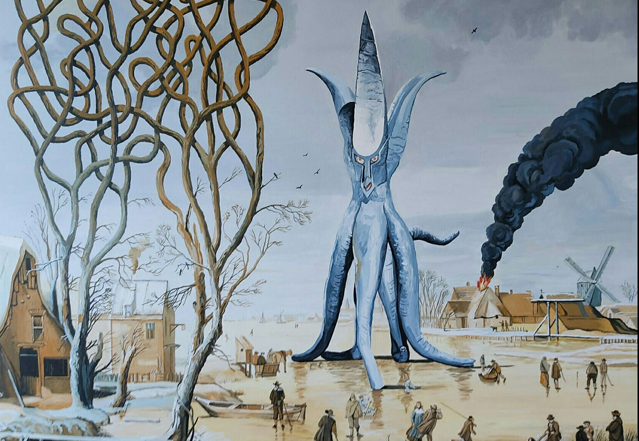 science fiction art, japanese monsters, pop surrealism, visual universe, critical artist, humorous artworks, dystopias