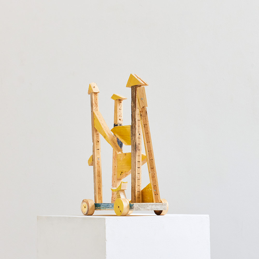 wood sculpture, on weels, yellow, contemporary art,