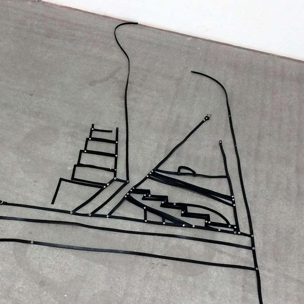 klaus pamminger artwork, black leather, artwork, installation