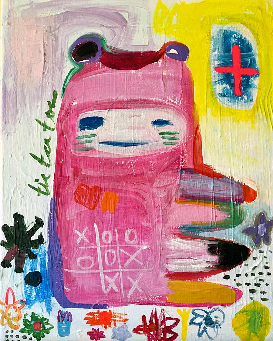 whimsical, fantastical imagery and faux-naif art practice, outsider art,
