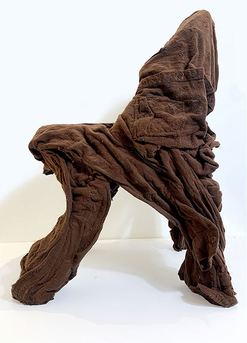 noah kashiani, featured artist, contemporary sculpture, chicago, up-cycled jackets, canvas, blue, object