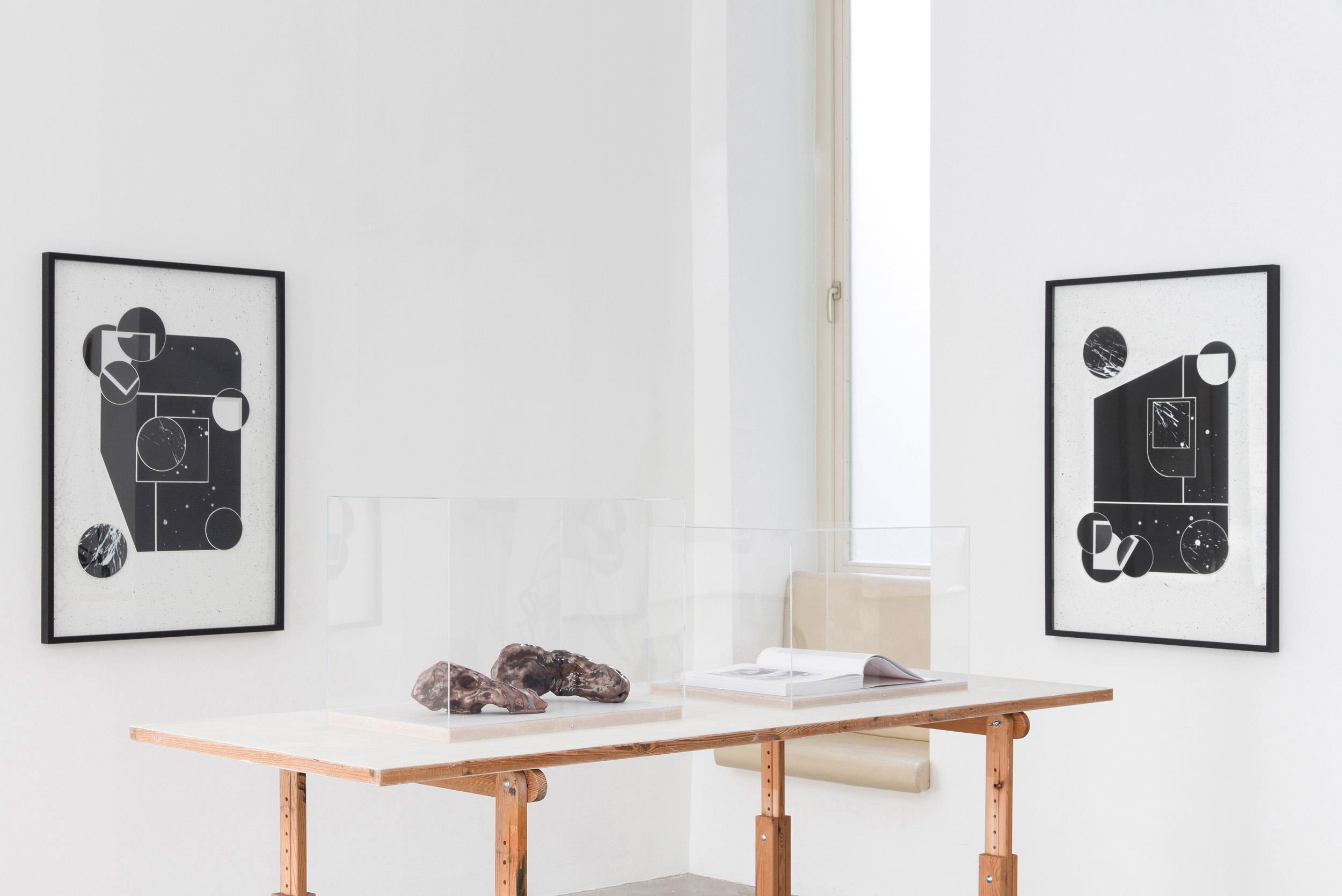 platform, viewing room, black and white, artworks, dark room, negatives,