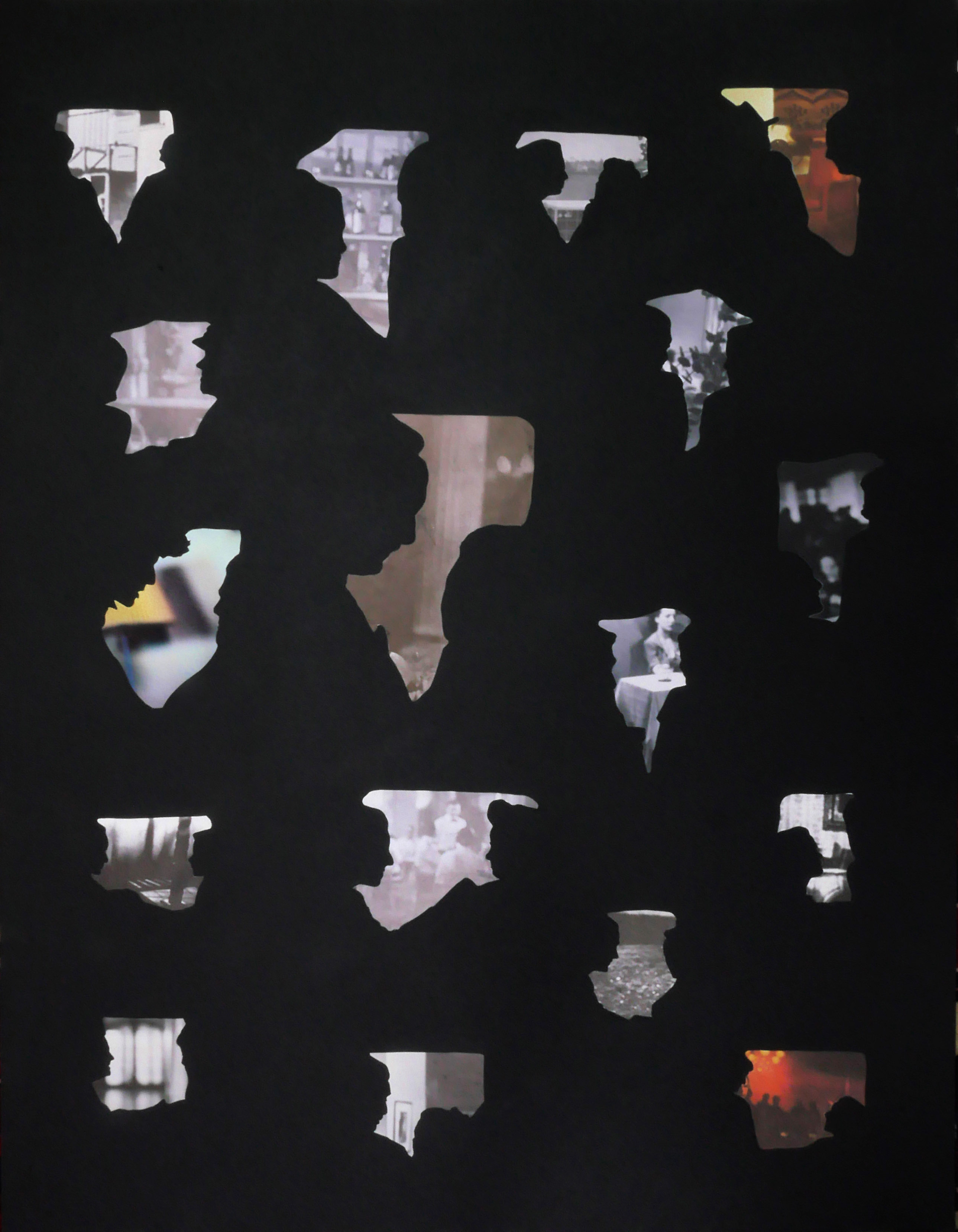 collage, cut outs, museum cardboard, images, found, old, retro