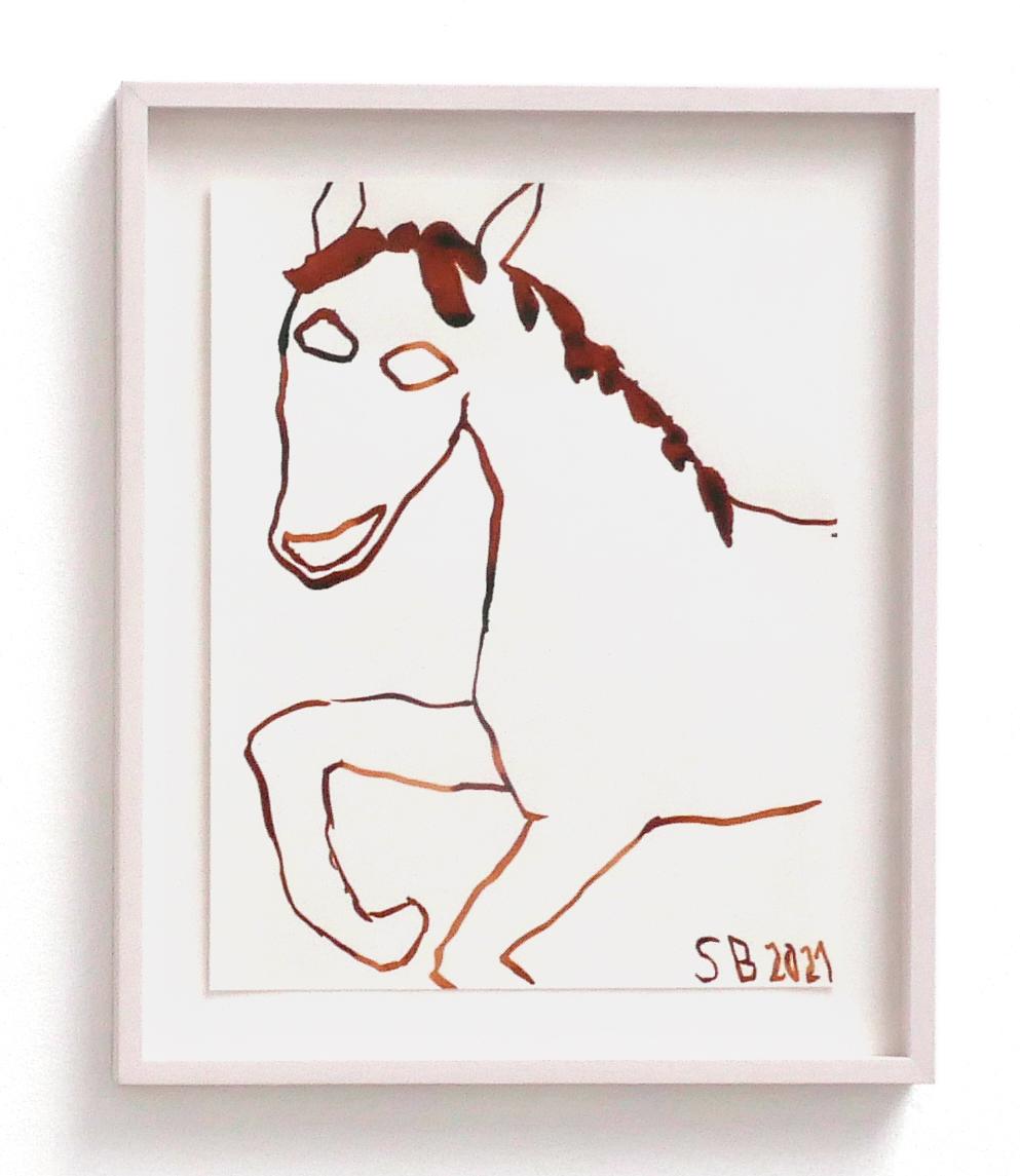 available artwork, sarah bogner, domino, horse painting, ink on paper, framed,