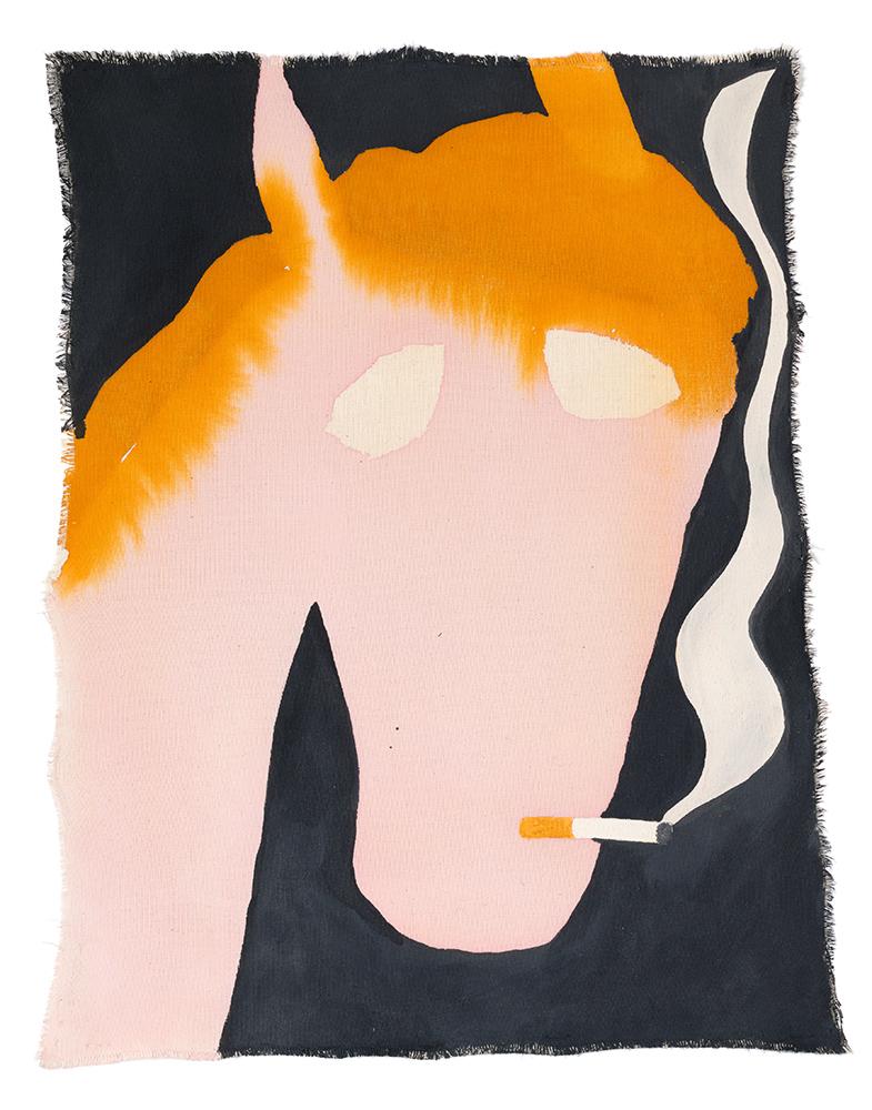 work on canvas, artist, sarah bogner, egg tempera , ink on paper, smoking horse, black and pink, raum mit licht gallery