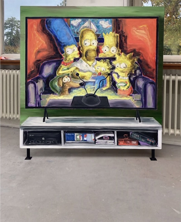andré wendland, munchies art club, featured artist, art news, oil painting, paint on tv, cartoon, looney tunes, cutting edge, explore art, young artist to collect