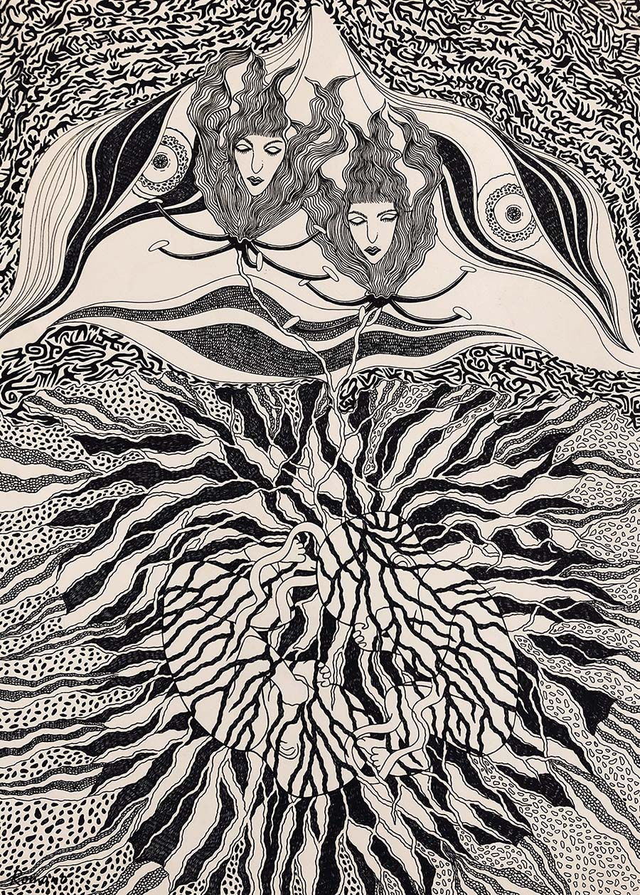 female, explosive kaleidoscope, animals, furniture, mirrors, gothic