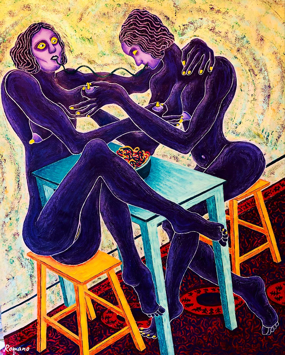 israel artwork, contemporary female artists, painters, twins, sisters
