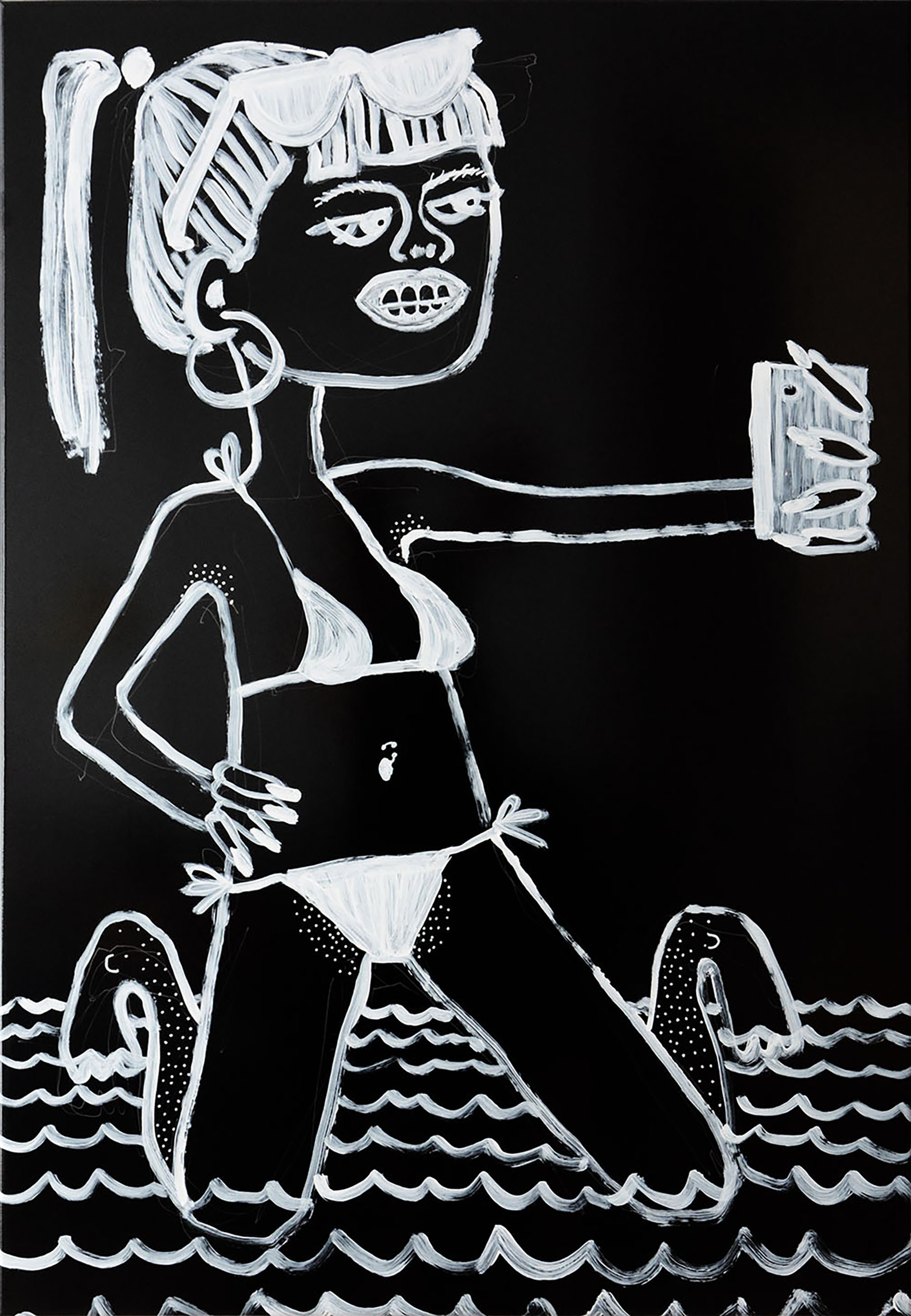 black and white, painting, drawing, emerging female artist