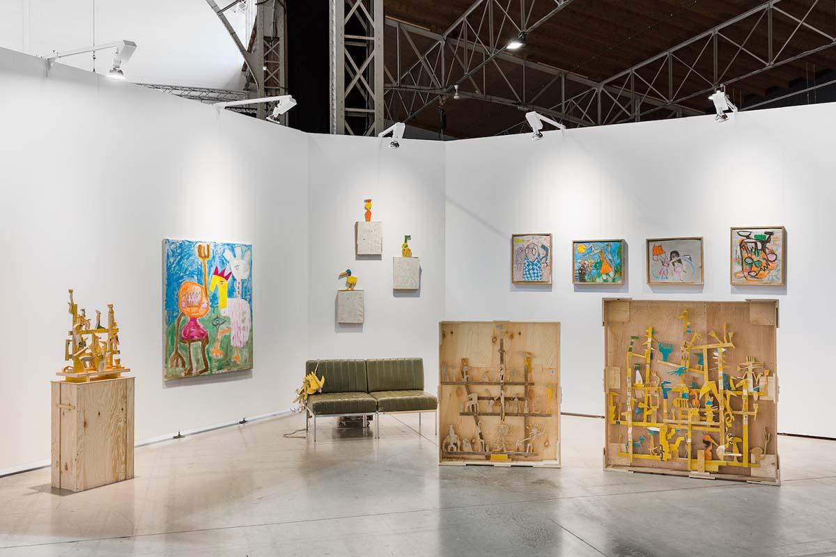 spark art fair, booth, ernst koslitsch, wood sculptures, colorful