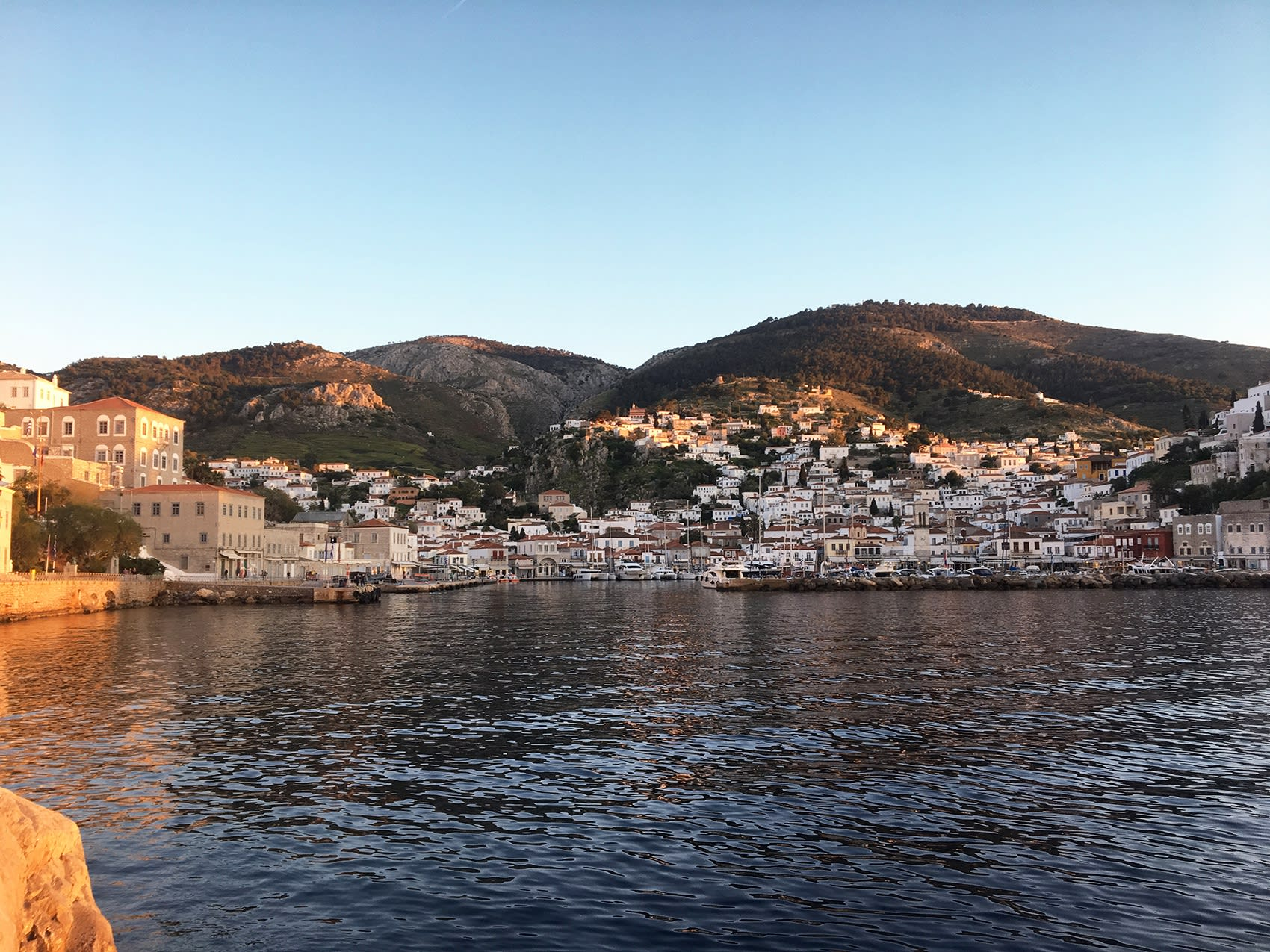 port of hydra island, easter, beautifull with ships,