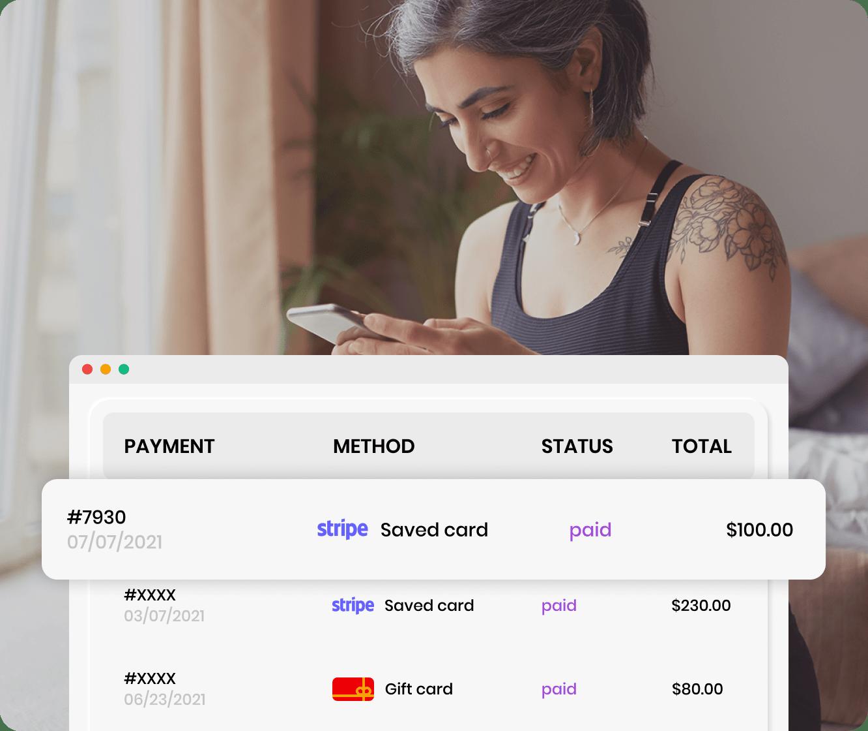 Woman checking her yoga studio payment history