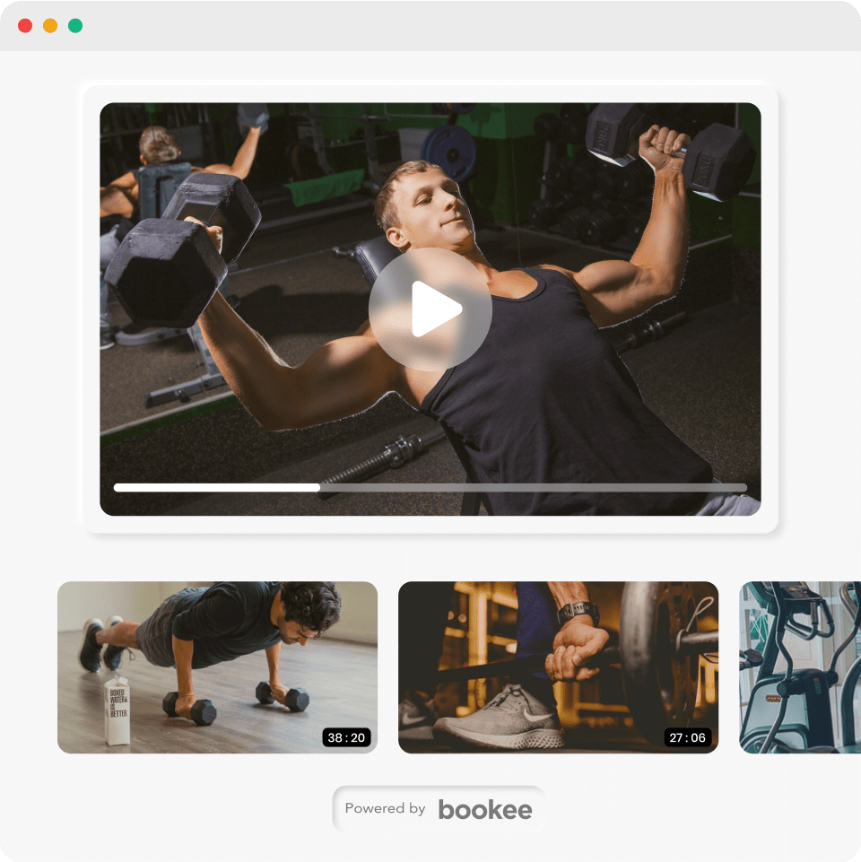 Bookee's VOD integration for hosting on-demand fitness videos.