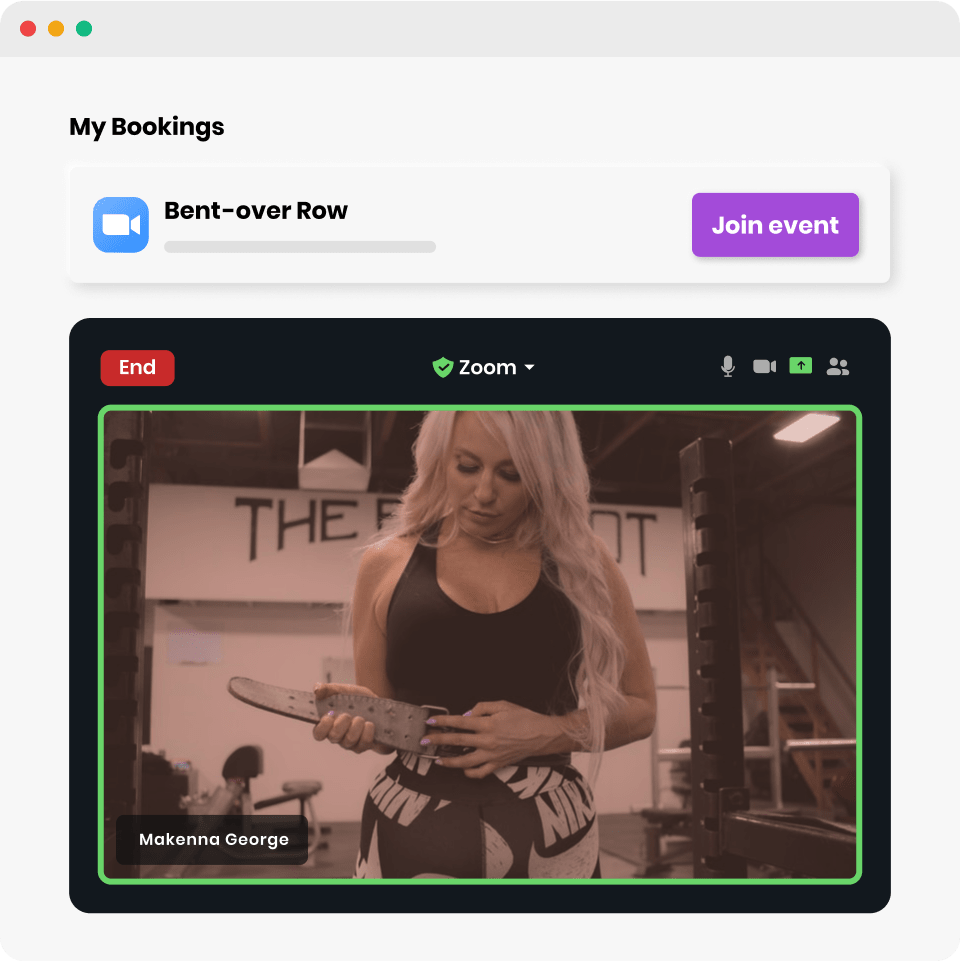 Bookee's zoom integration for hosting online fitness classes