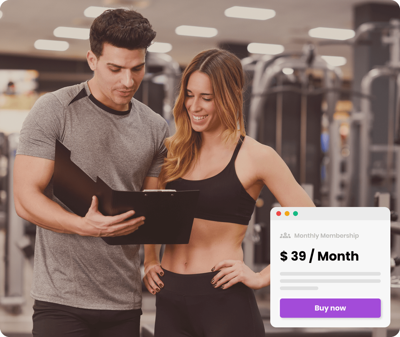 Fitness trainer with his client