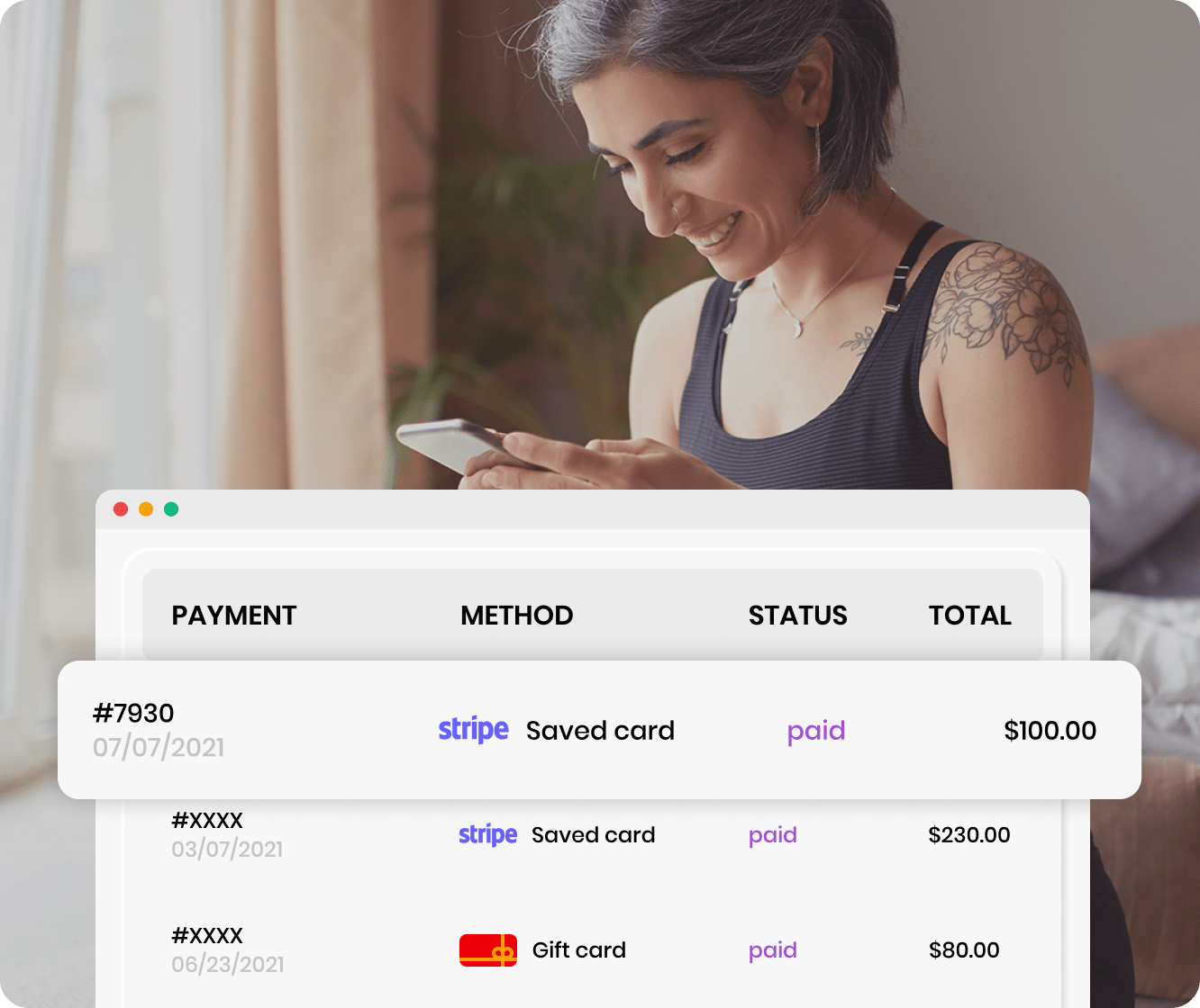 Woman checking her past fitness payment's history online