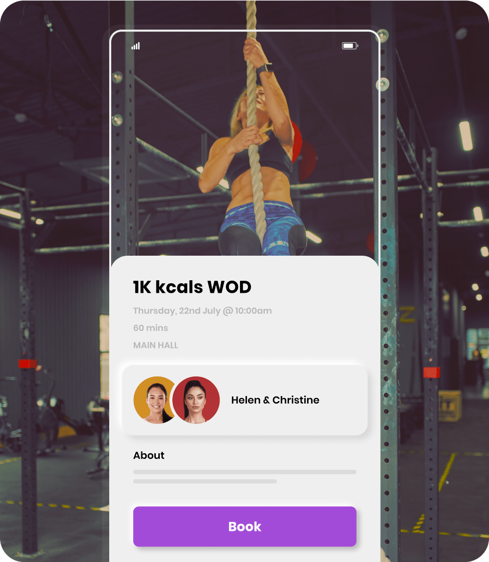 Bookee's studio mobile apps for booking a crossfit class