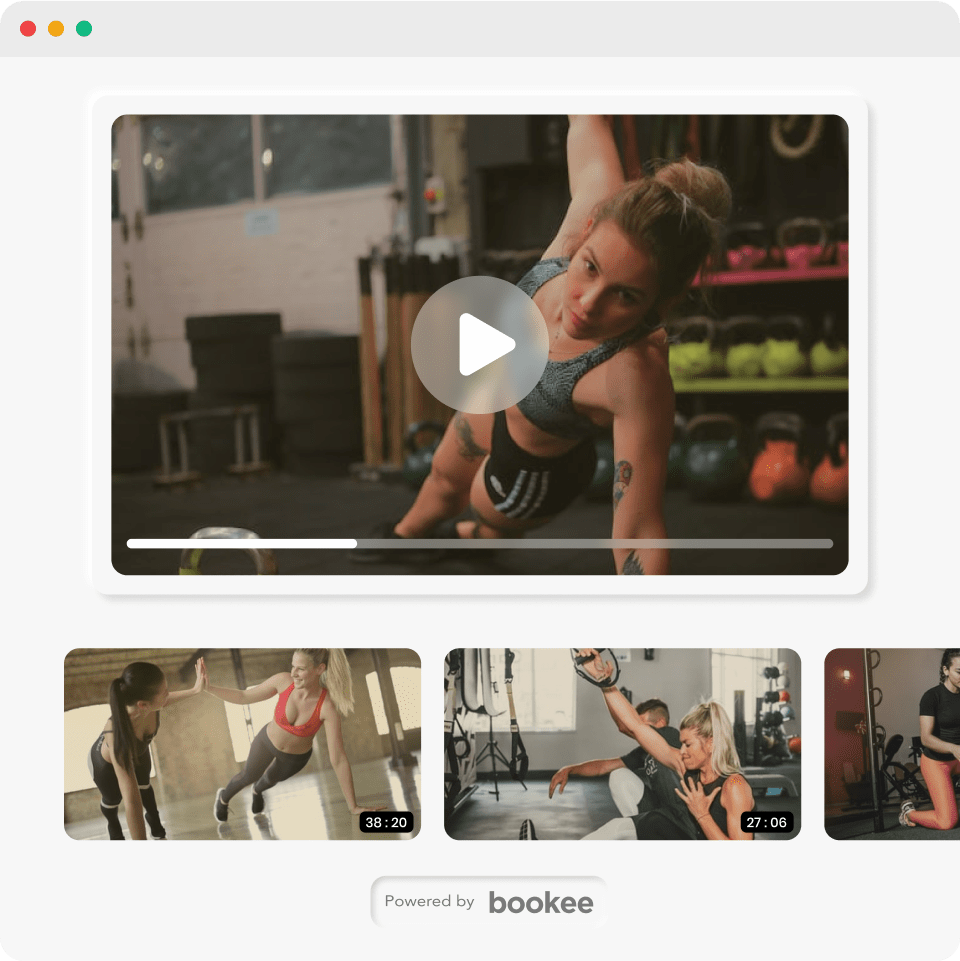 A collage of crossfit video exercises available on demand