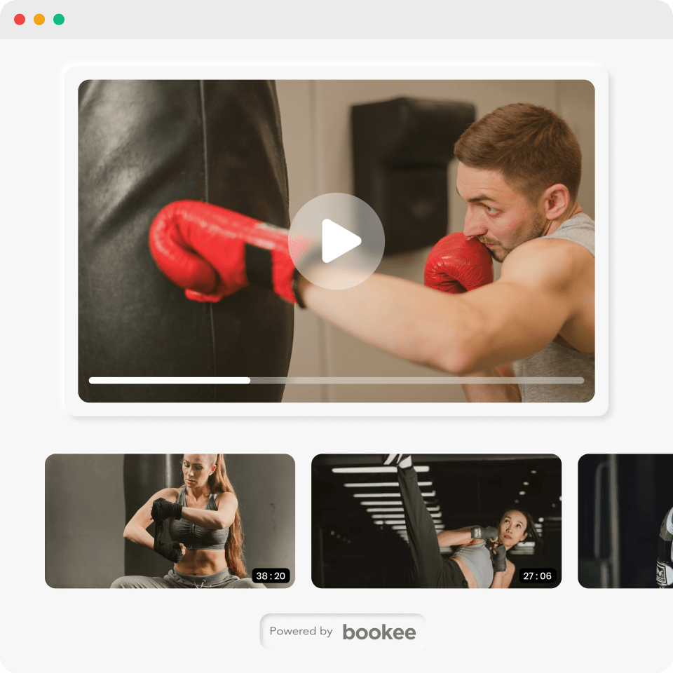 Boxing on-demand videos powered by bookee