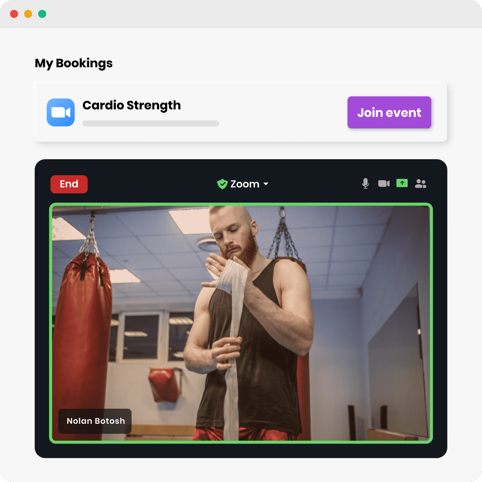 Online boxing classes in progress