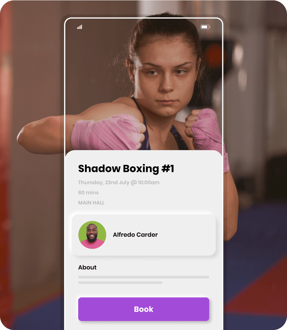 Bookee's branded mobile app for boxing studios
