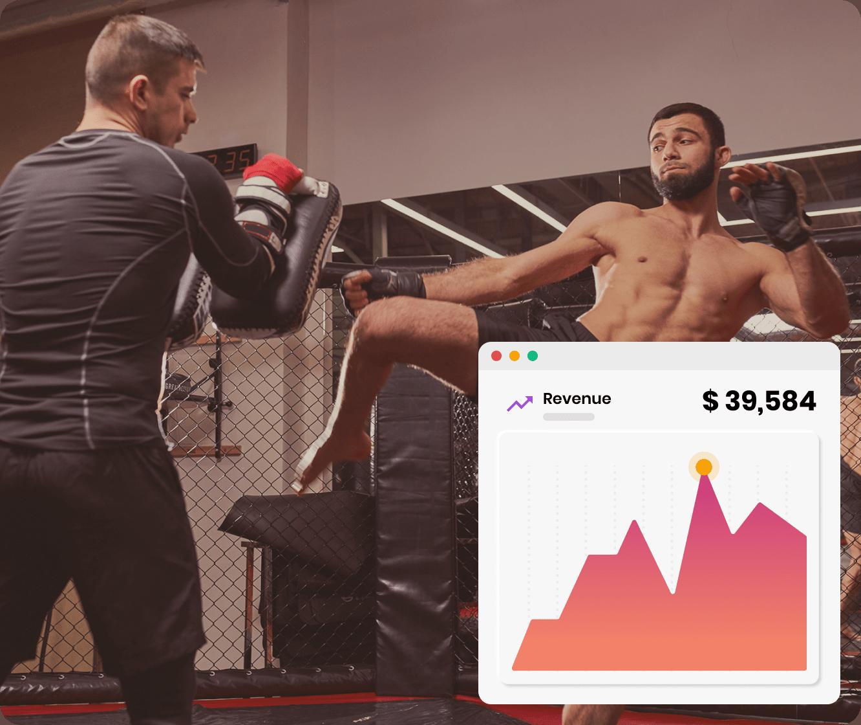 Athletic man undergoing boxing training