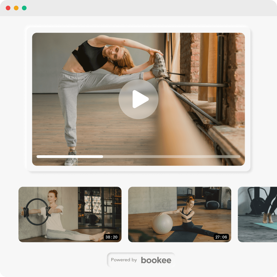 Multiple on-demand boutique fitness videos powered by bookee