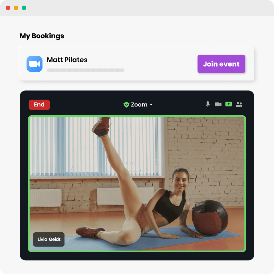 Fit lady stretching on an online class