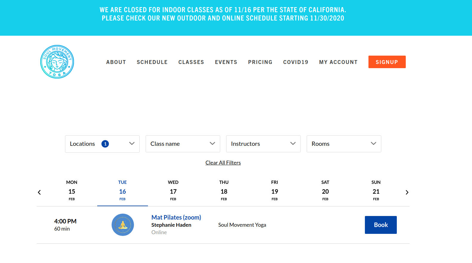 Soul Movement Yoga's web-integration with class schedule for online bookings powered by bookee