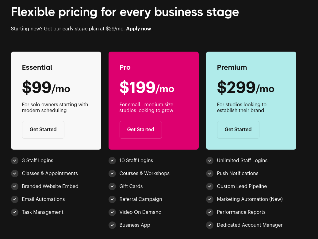 Bookee's pricing options for multiple fitness business tiers.