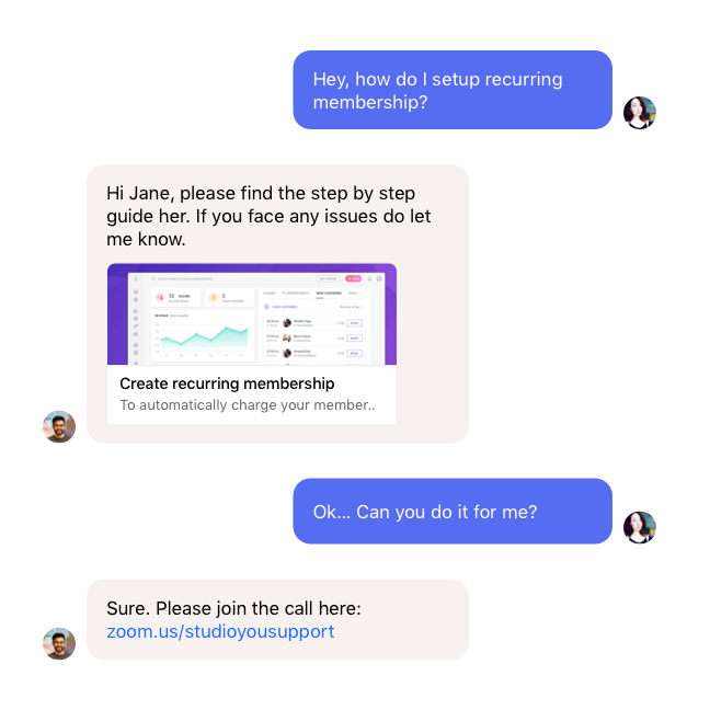 Bookee's fast and easy chat support.