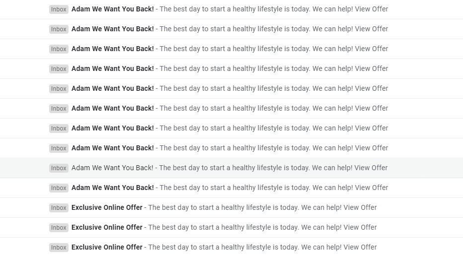 Mail spam by fitness studio to its clients as an example of bad client engagement