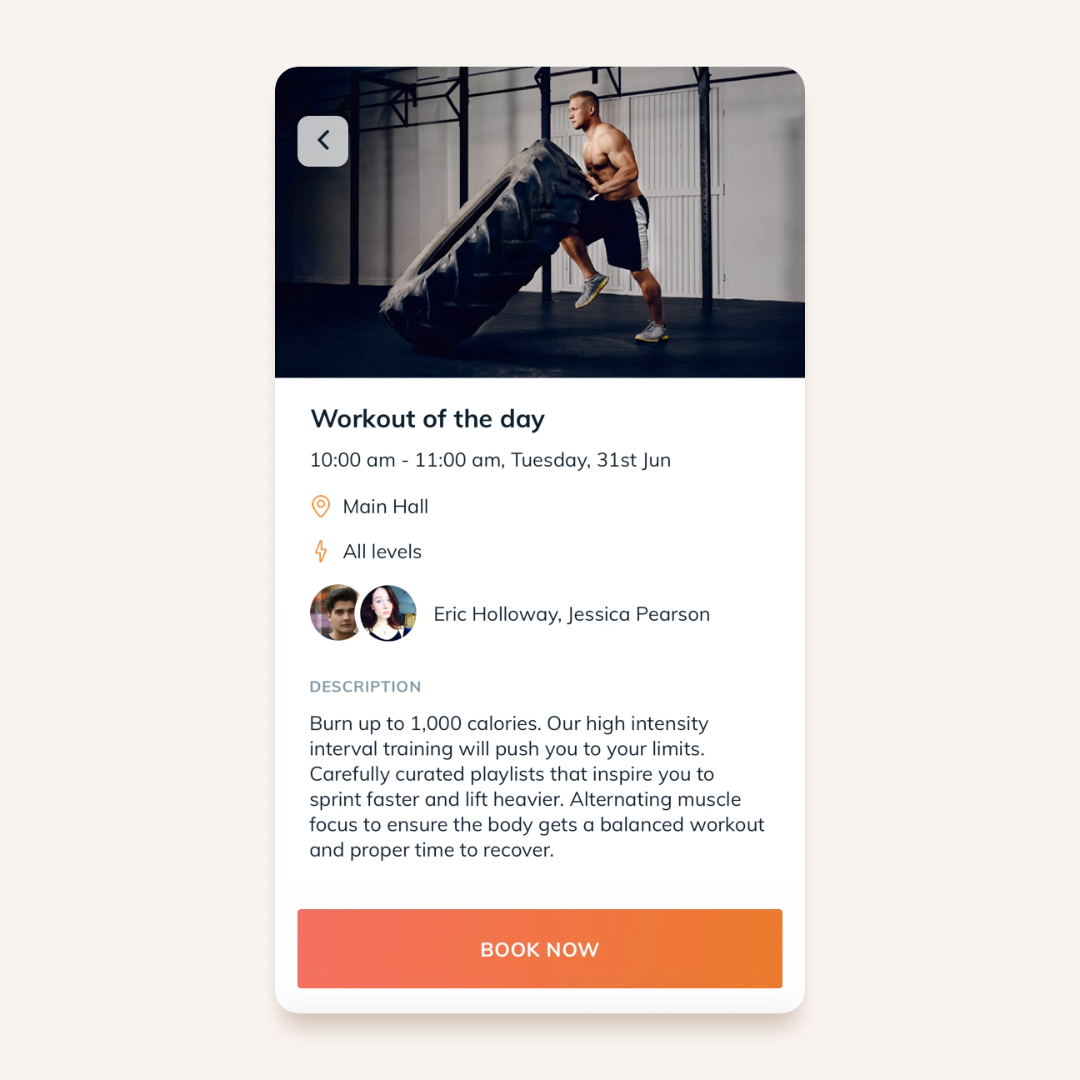 Bookee's fitness class booking app with option to book a CrossFit WOD