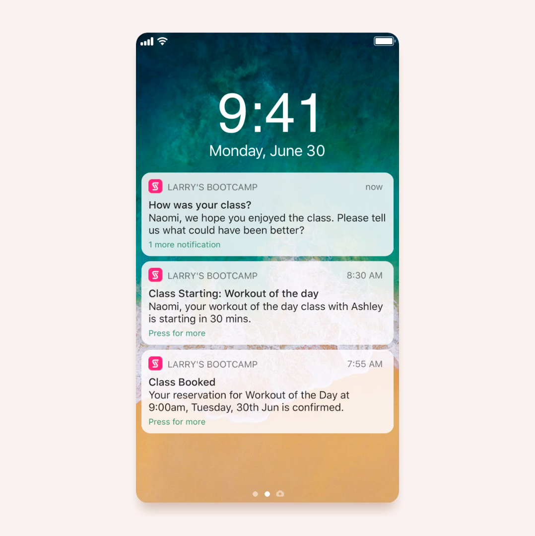 Bookee's push notifications sending out messages to client on the app about confirmed class booking