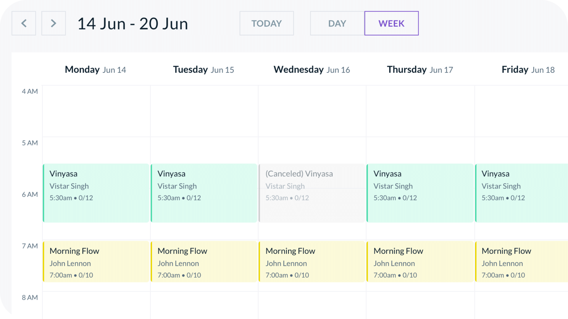 Bookee's universal fitness calendar with a  cancelled class instance
