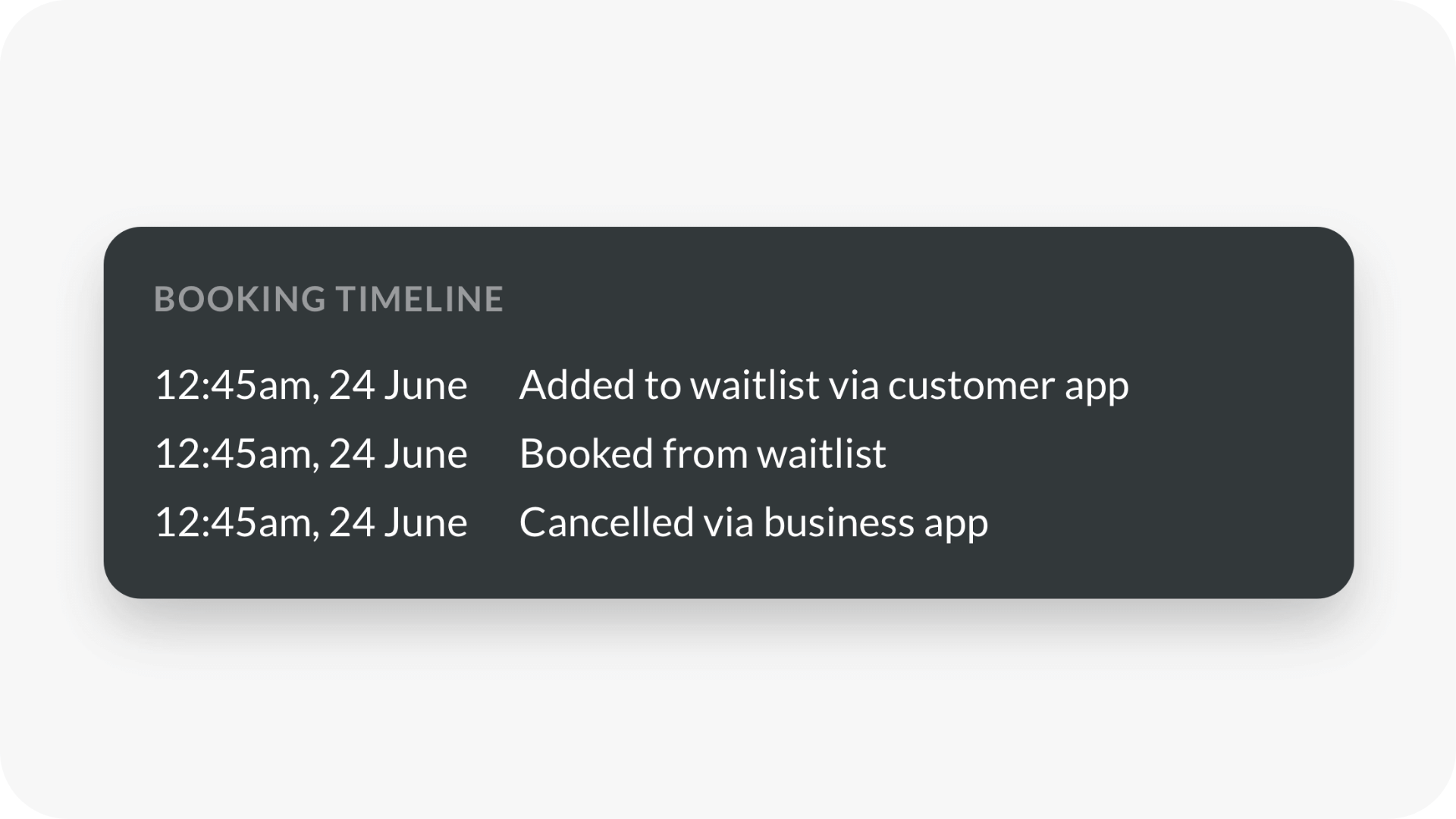 Beta testing view of client's booking timeline available in every customer's profile