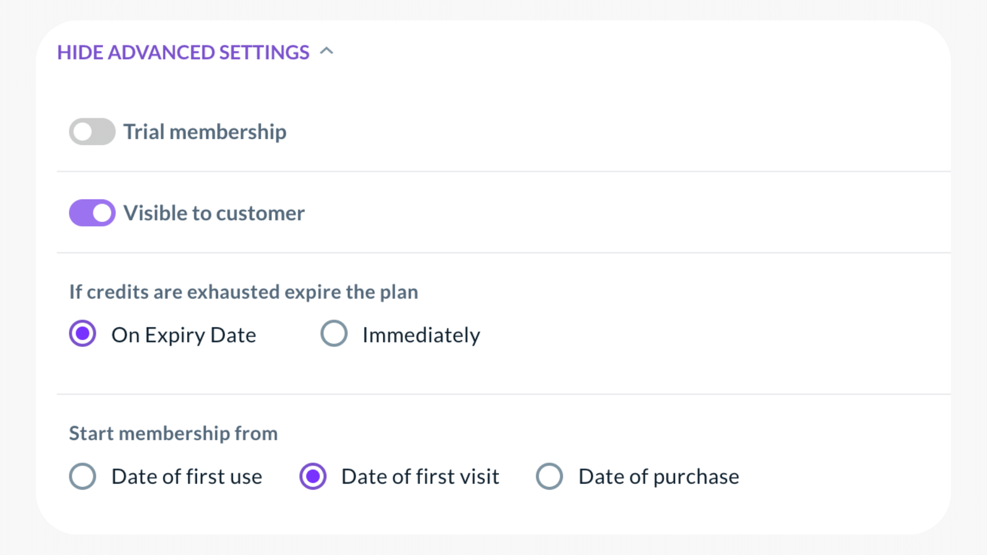 Advanced settings for credit packs to make them start on the day when first class is attended
