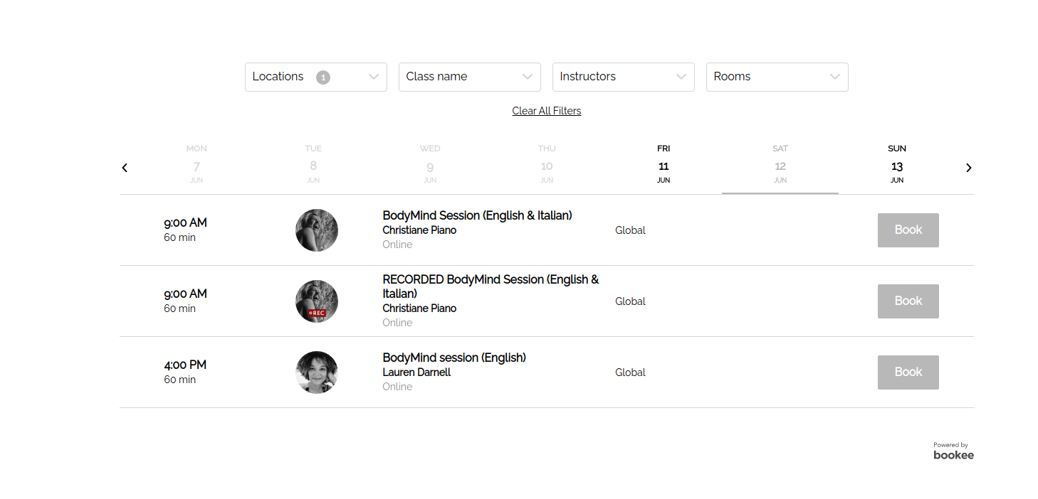 Space BodyMind's web-integration for online bookings powered by bookee