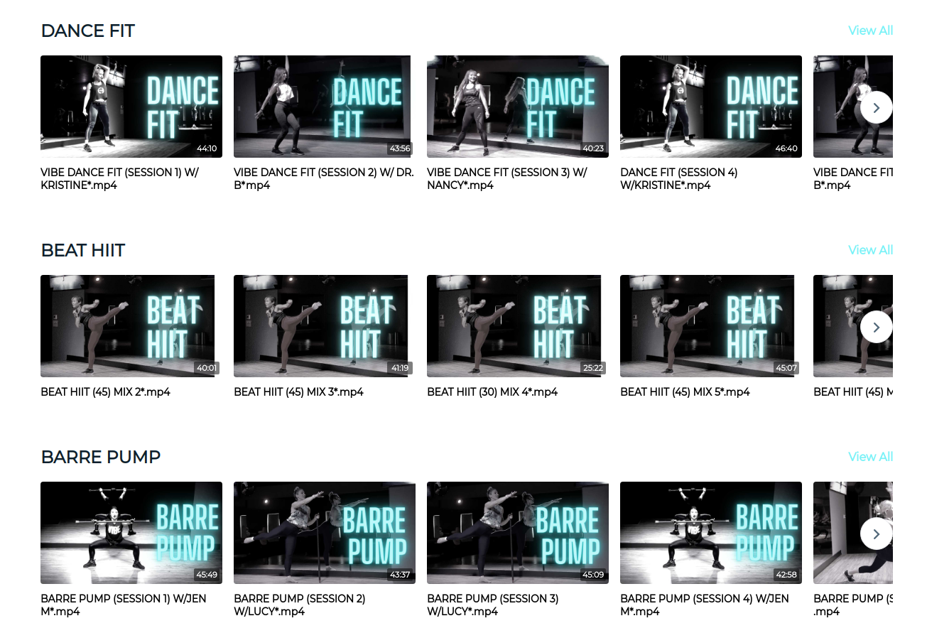 Vibe Vault Fit studio's video-on-demand playlist powered by bookee.