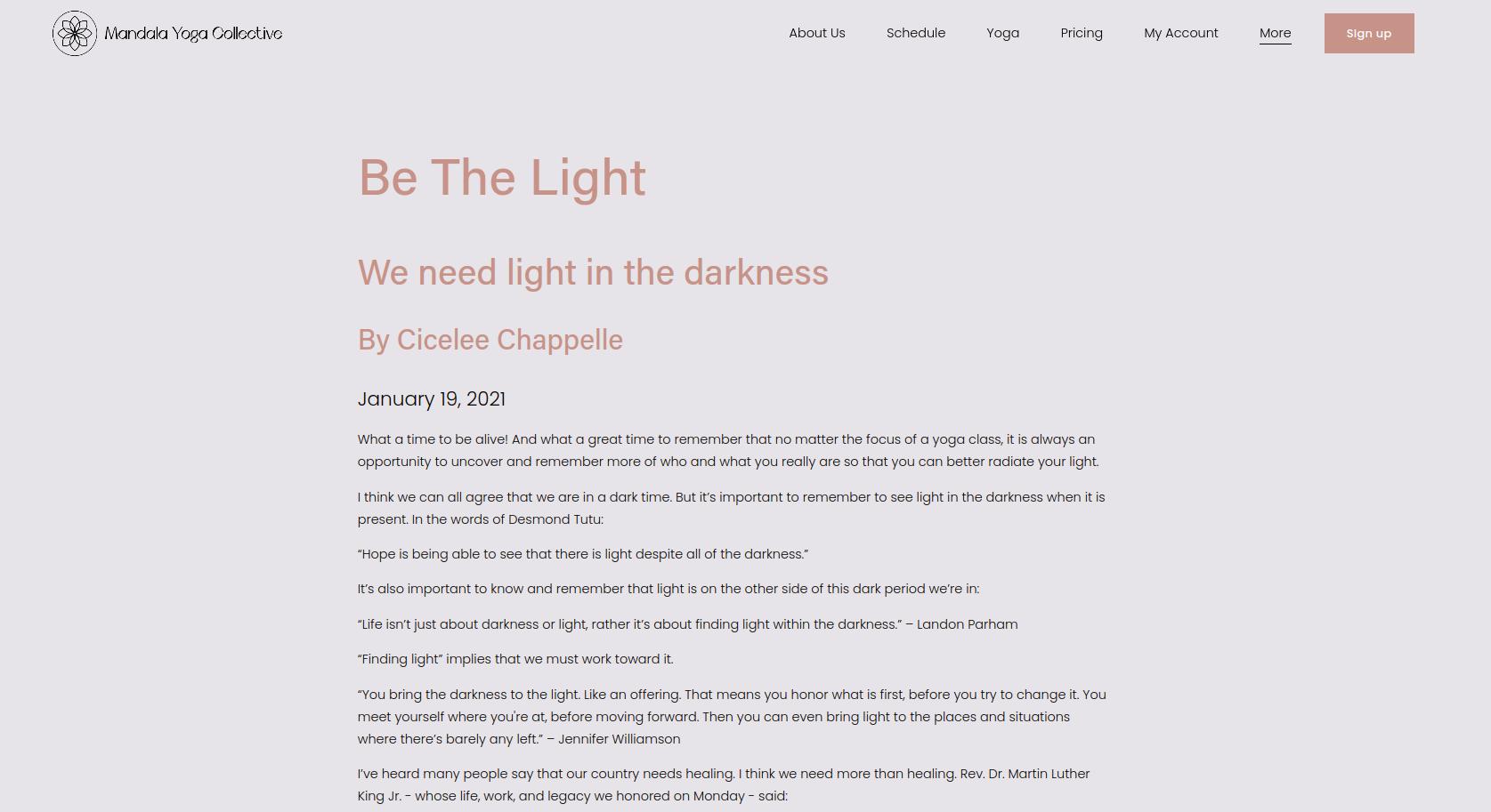 "Mandala Yoga's studio's online blog titled ""Be The Lights"""