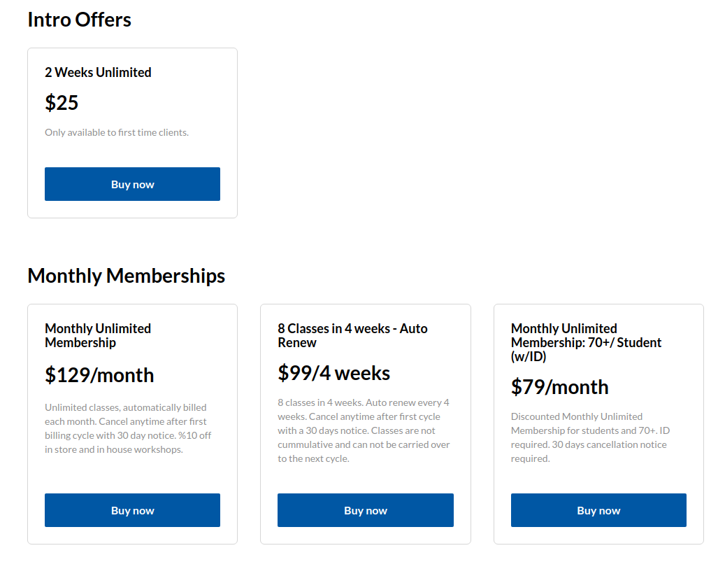 Fitness studio website's pricing and checkout page with intro offers and monthly memberships