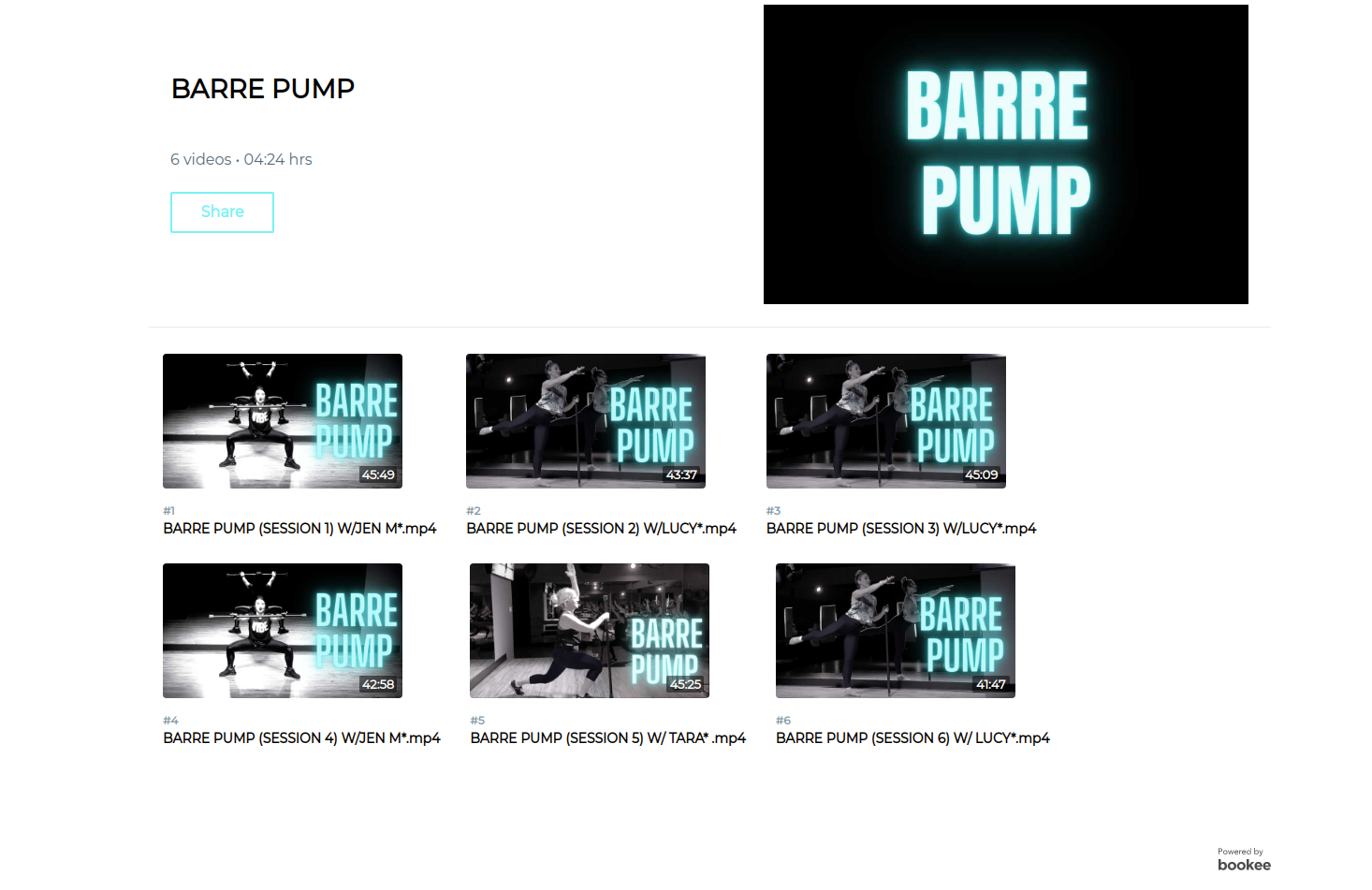 Vibe Vault Fit's Barre video-on-demand playlist with six different barre pump sessions