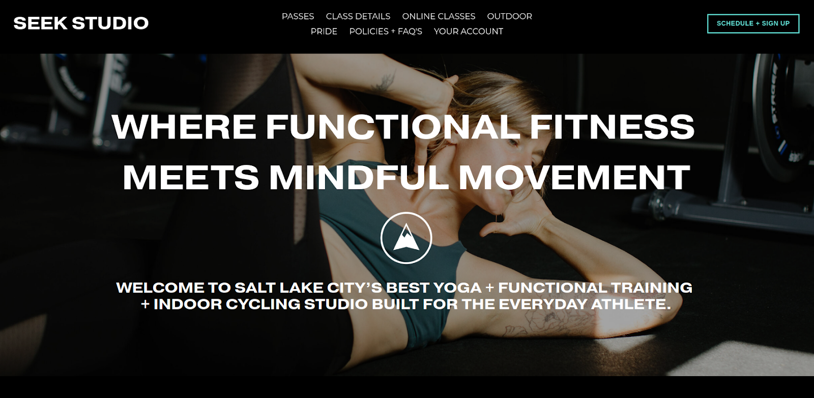 Seek Studio's home page describing functional fitness and mindful movement