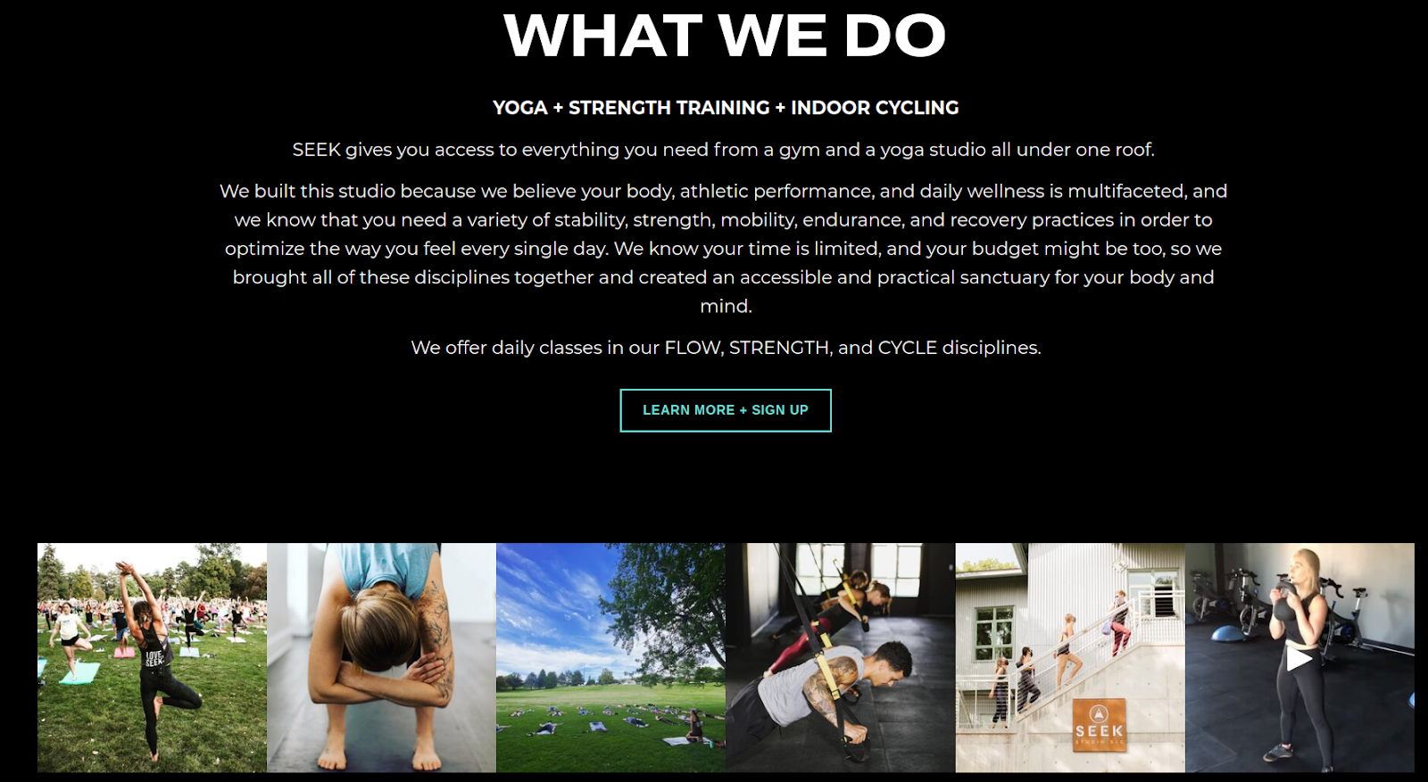 Seek Studio's description involving its core strength as yoga, strength training and indoor cycling