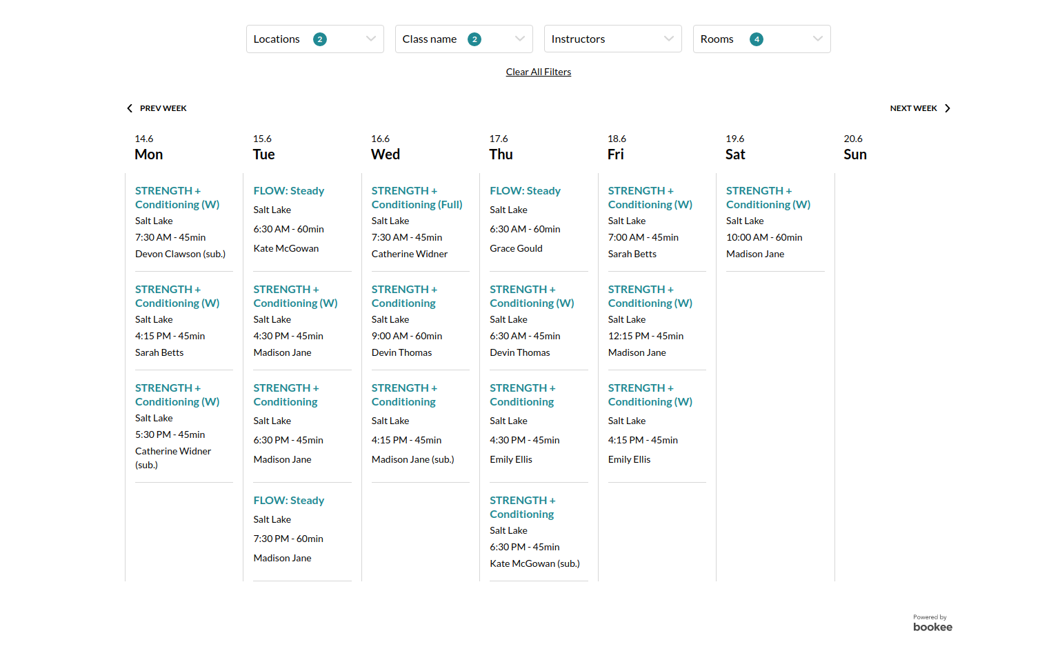 Seek Studio's scheduling web-page for direct class bookings, powered by bookee