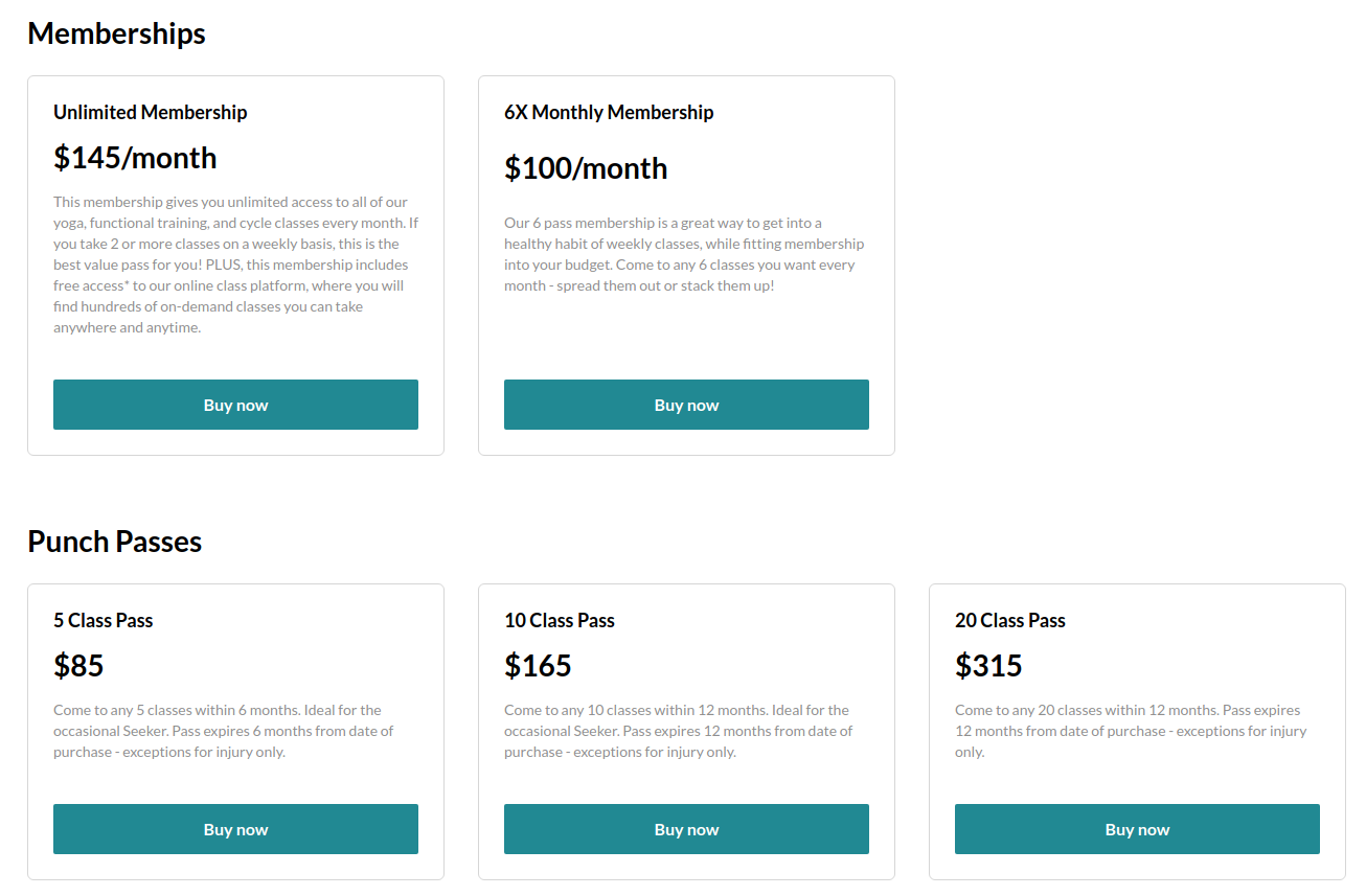 Seek Studio's pricing and checkout page with memebership options and class packs